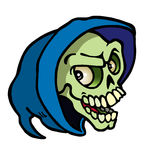 Halloweenowa czaszka z błękitnym kapiszonem Zdjęcie Royalty Free