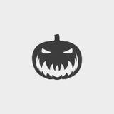 Halloweenowa dyniowa ikona w płaskim projekcie w czarnym kolorze Wektorowa ilustracja EPS10 ilustracji