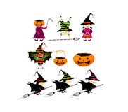 Halloweenowa dziecko sztuczka, częstowanie w Halloweenowym kostiumu lub Obrazy Royalty Free