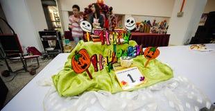 Halloweenowa Filiżanki Torta Dekoraci Rywalizacja Fotografia Stock