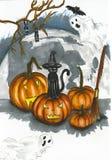 Halloweenowa ilustracja z dużymi nietoperzami i baniami Obrazy Stock