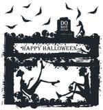 Halloweenowa ilustracja z eleganckimi sylwetkami Obrazy Stock