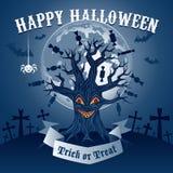Halloweenowa ilustracja z magicznym drzewem Zdjęcia Royalty Free