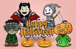 Halloweenowa kreskówka - Wektorowa ilustracja royalty ilustracja
