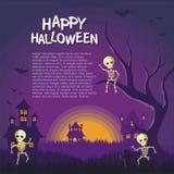 Halloweenowa kreskówki rama z Śmiesznym i przerażającym projektem fotografia stock