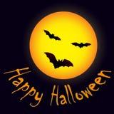 Halloweenowa księżyc i nietoperze Zdjęcie Royalty Free