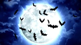 Halloweenowa księżyc i nietoperze w niebieskim niebie i chmurach ilustracja wektor