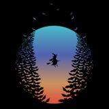 Halloweenowa księżyc z czarownicą i nietoperzami, wektor royalty ilustracja