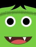 Halloweenowa śliczna zielona potwór twarz Obrazy Stock