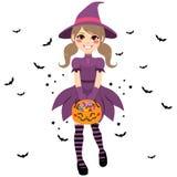 Halloweenowa nastolatek czarownica ilustracji