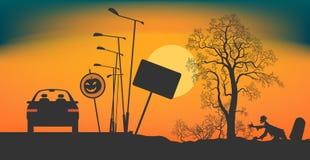 Halloweenowa noc na drodze Obraz Stock