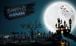 Halloweenowa noc z baniami i żywy trup sylwetkami ilustracja wektor