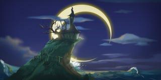Halloweenowa nocy księżyc, góra i Beletrystyczny tło Pojęcie sztuka royalty ilustracja