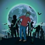 Halloweenowa nocy księżyc zombi żywego trupu złych duchów potwora pokraka ilustracji