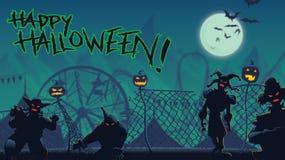 Halloweenowa północy ucieczka od nawiedzającego karnawału ilustracja wektor