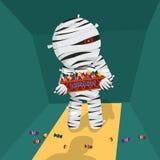 Halloweenowa pojęcie karta z mamusią przynosi cukierek dla trikowego lub fundy również zwrócić corel ilustracji wektora Zdjęcie Stock