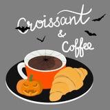 Halloweenowa pojęcie kawa i croissant kawiarnia z pisma literowaniem przestań tła rogalik filiżanki kawy sweet obraz royalty free