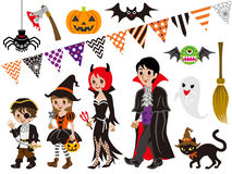 Halloweenowa rodzina i potwory ustawiający Zdjęcie Stock