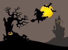 Halloweenowa scena z latającą czarownicą ilustracji