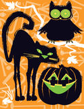 Halloweenowa sowa, kot i Jack o lampion, Fotografia Stock