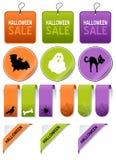 Halloweenowa sprzedaż Oznacza elementy Ustawiających Fotografia Royalty Free