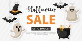 Halloweenowa sprzedaż z płaską ikoną royalty ilustracja
