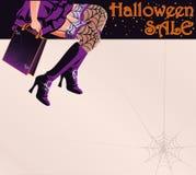 Halloweenowa sprzedaż zakupy powitania pocztówka Zdjęcie Royalty Free