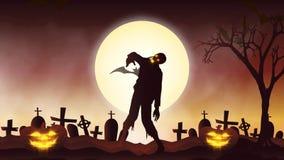 Halloweenowa tło animacja z pojęciem Straszne banie, księżyc, nietoperze i żywy trup, royalty ilustracja