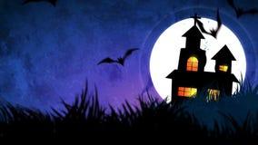 Halloweenowa tło animacja z pojęciem Straszne banie, księżyc, nietoperze i Nawiedzający kasztel, ilustracji