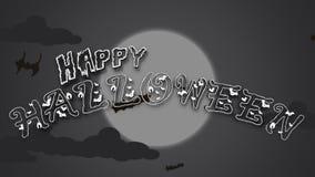 Halloweenowa tekst animacja Z latanie nietoperzem royalty ilustracja