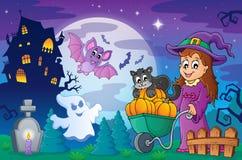 Halloweenowa temat scena 2 ilustracja wektor