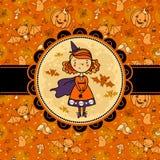 Halloweenowa wektor karta z śmieszną czarownicą Zdjęcie Stock