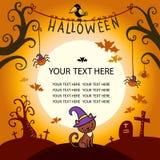 Halloweenowa wektor karta z kotem Obrazy Stock