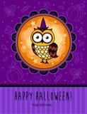 Halloweenowa wektor karta z sową Zdjęcia Royalty Free