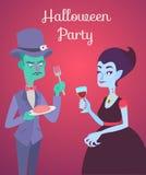 Halloweenowa wektor karta z żywym trupem i wampirem Ilustracji