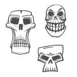 Halloweenowe artystyczne czaszek ikony ustawiać Obrazy Stock