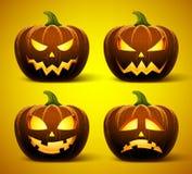Halloweenowe banie w wektorze z setem różne twarze dla ikon ilustracji