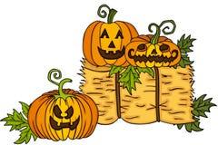 Halloweenowe banie z belą siano Fotografia Stock