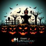 Halloweenowe banie z strach na wróble przed księżyc w pełni Obraz Stock