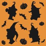 Halloweenowe czarownic sylwetki ustawiać royalty ilustracja