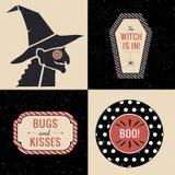 Halloweenowe dekoracje z czarownicą i Halloween etykietkami Zdjęcia Stock