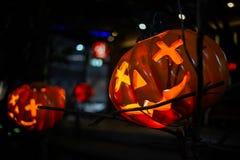 Halloweenowe Dyniowe dekoracje W ogródzie dla Halloween zdjęcie royalty free