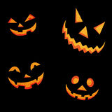 Halloweenowe dyniowe straszne twarze Fotografia Royalty Free