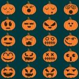 Halloweenowe dyniowe wektoru 20 ikony ustawiają, emoci różnica Prości mieszkanie stylu projekta elementy Obrazy Stock