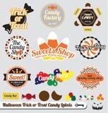 Halloweenowe Etykietki Cukierków Majchery i Obrazy Royalty Free