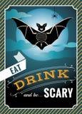 Halloweenowe grafika z nietoperz sylwetką i Halloween wycena Zdjęcie Stock