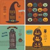 Halloweenowe karty ustawiać - ręka rysujący styl Zdjęcia Royalty Free