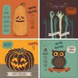 Halloweenowe karty ustawiać - ręka rysujący styl Zdjęcie Royalty Free