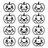 Halloweenowe Kawaii śliczne czarne dyniowe ikony - Zdjęcia Stock