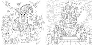Halloweenowe kolorystyk strony royalty ilustracja